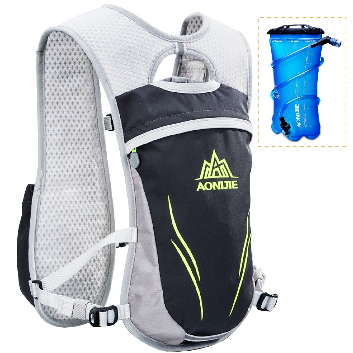 Azarxis Running Hydration Vest Mochila Pack Ultra Trail Race Chaleco Hidratacion 5.5L con contenedor de Agua para Hombres Mujeres Maratón Ciclismo (Azul - con 2 Botellas de Agua (250 ml))