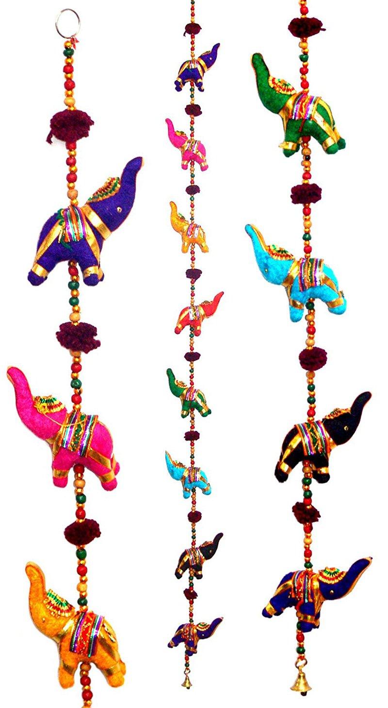 Tribe Azure Fair Trade 5 Elephant Bell Hanging, Door Wall Living Room Bedroom Decor Art Decorative Colorful Animal Boho Hippie Gypsy Chime Ethnic tribelep-10010