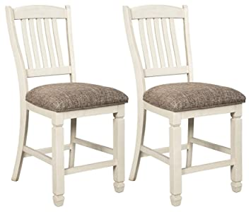 Miraculous Signature Design By Ashley Bolanburg Upholstered Barstool Set Of 2 Casual Style Antique White Pabps2019 Chair Design Images Pabps2019Com