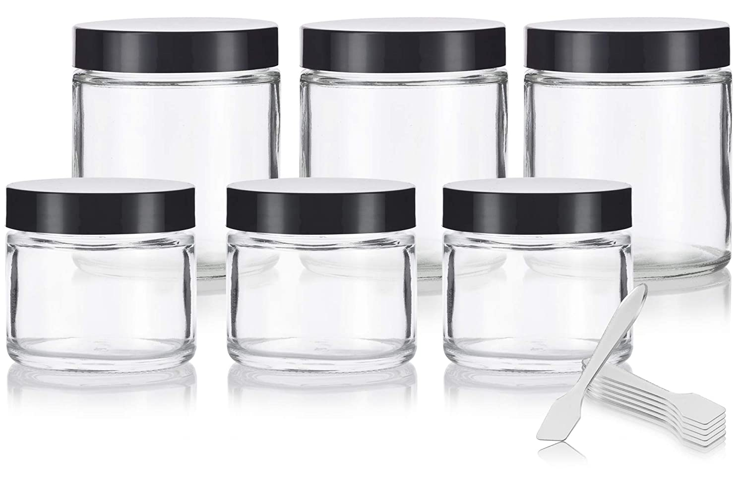 Clear Thick Glass Straight Sided Jar Set 6 Pack 3-2 oz 60 ml and 3-4 oz 120 ml Spatulas