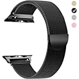 MUEN Replacement for Apple Watch Strap 42mm(44mm) Black Milanese Loop Magnetic Lock Replacement Band Metal Stainless Steel Mesh Band