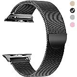 MUEN Cinturino per Smartwatch 42mm(44mm) Nero Cinturini Sostituzione Accessori Loop in Maglia Milanese Compatibile per Watch Serie 1,2,3,4