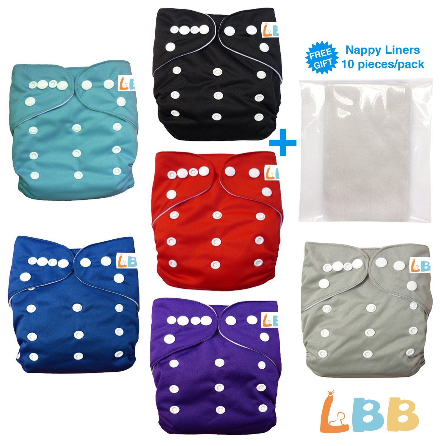 Baby Double Rows of Snaps 6pcs Pack Fitted Pocket Washable Adjustable Cloth Diaper(Netural Color)6BM98, AMGrey, One Size 1000LOVE ZH6CX60002