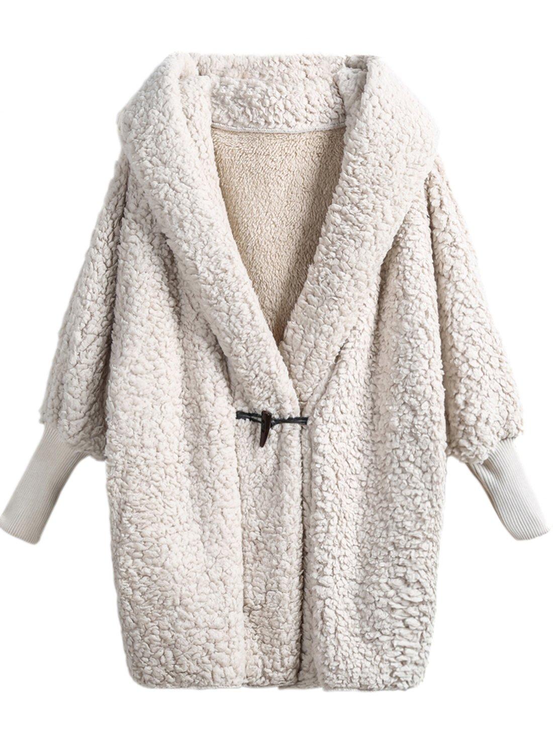 SweatyRocks Women Khaki Hooded Dolman Sleeve Faux Fur Cardigan Coat For Winter (One Size, Cream)