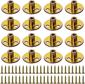 """WMYCONGCONG 64PCS Iron Plate Nut Screw Set 5/16"""" Brad Hole Tee T-nut with Round Base Furniture Hardware Flange Insert Female Thread T-Nut with Mounting Screws Set (5/16"""