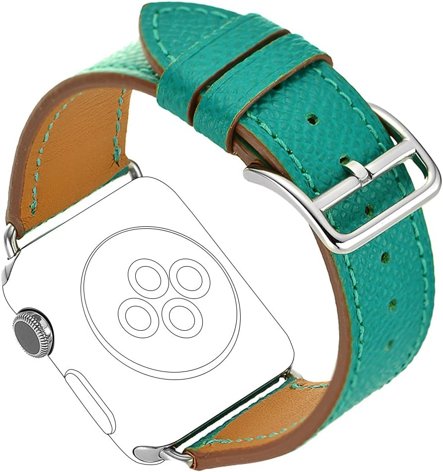 Maxjoy Compatible with Apple Watch Band, Genuine Leather Bands 38mm 40mm Strap Replacement Wristband with Metal Clasp Compatible with Apple iWatch Series 4 3 2 1 Sport Edition, Peacock Blue
