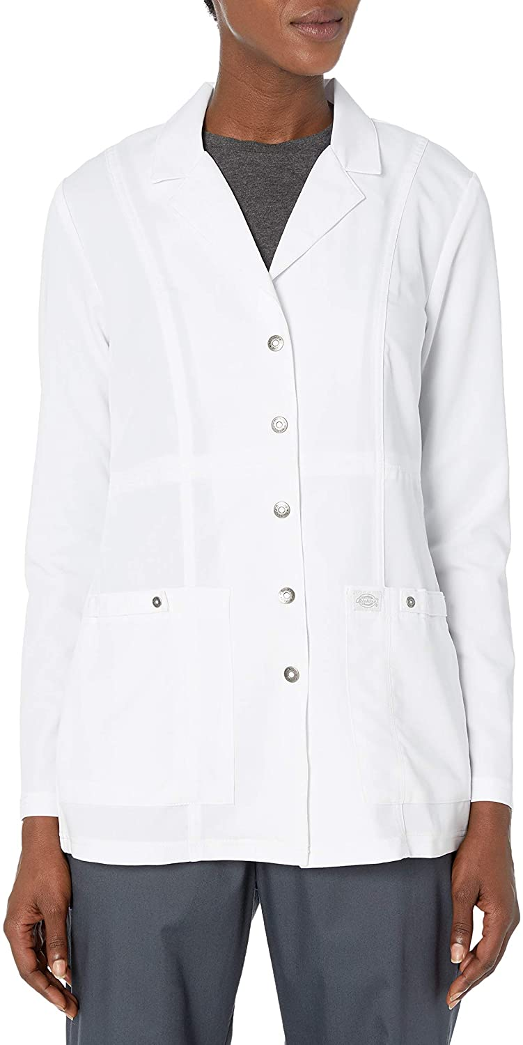 "Dickies Women's Xtreme Stretch 28"" Snap Front Lab Coat"