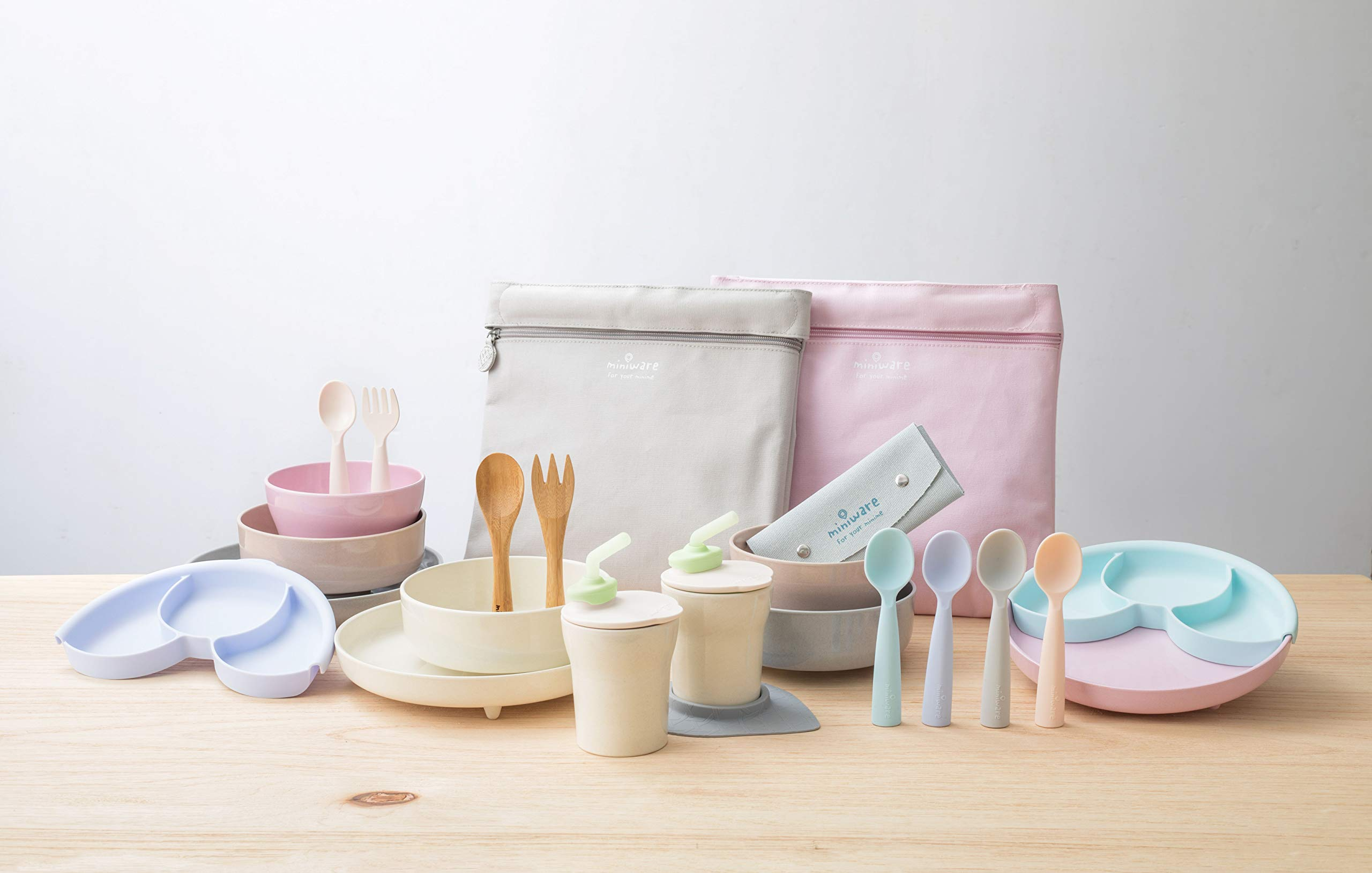 Miniware Teething Spoon Cutlery Set with Carrying Case for Baby Toddler Kids - Promotes Self Feeding | 100% Food Grade Silicone | BPA Free | Modern & Durable Design | Dishwasher Safe (Grey and Aqua) by Miniware