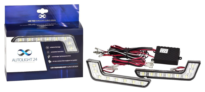 AutoLight24 LED Tagfahrlicht L-Form Curve-Design 12V 8 x SMD LEDs TÜ V R87 Modul V19