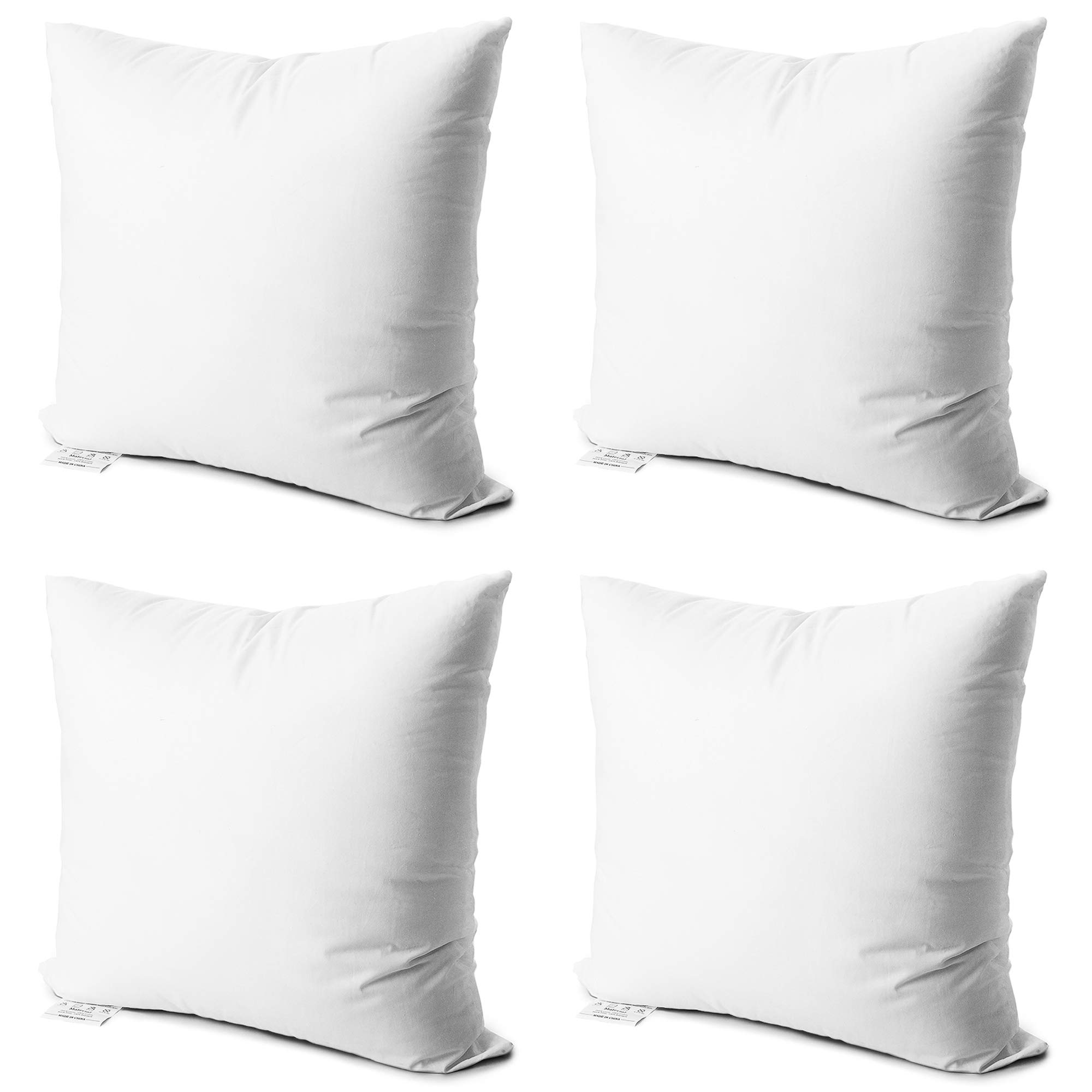 Edow Throw Pillow Inserts,Set of 4 Soft Hypoallergenic Down Alternative Polyester Square Form Decorative Pillow, Cushion,Sham Stuffer,Cotton Cover. (White, 18x18)