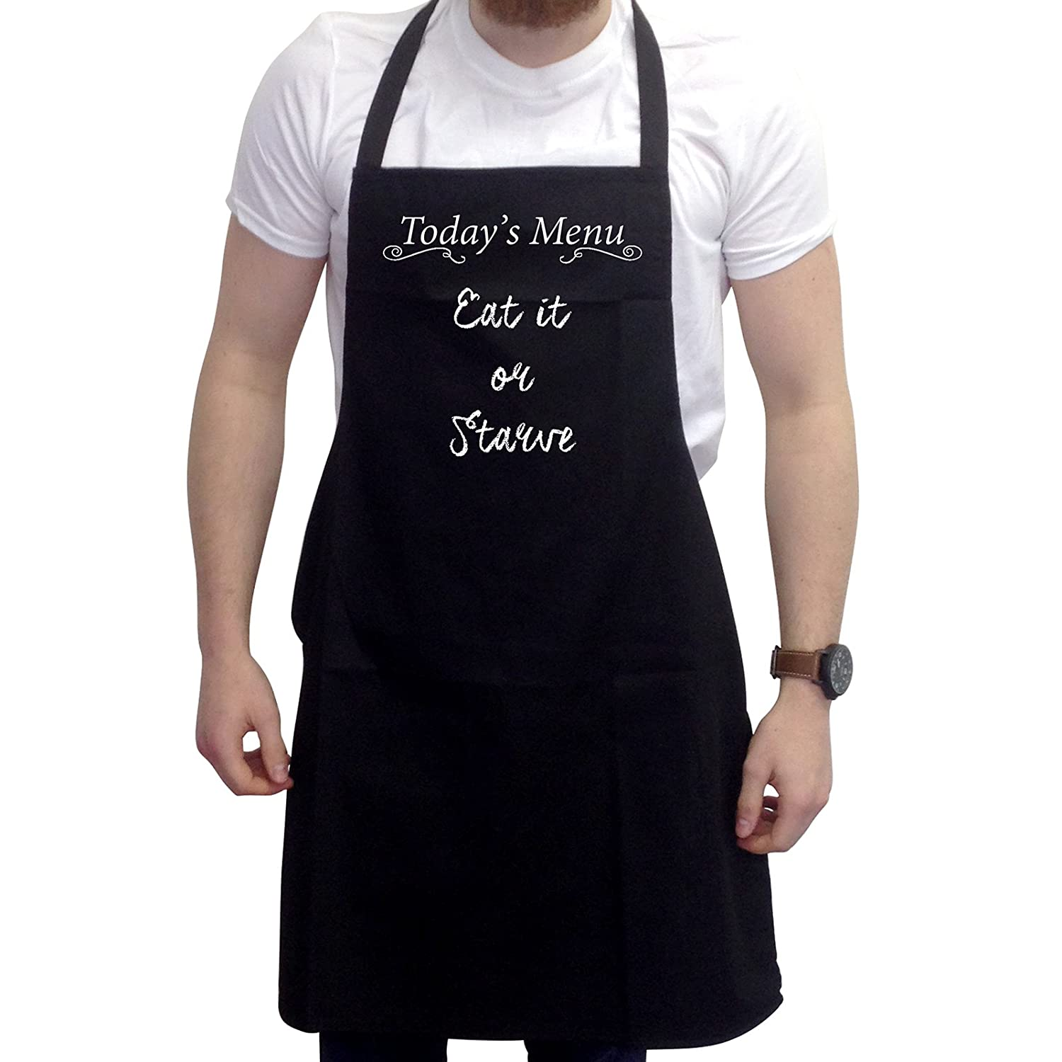 Bang Tidy Clothing Funny BBQ Apron Novelty Aprons Cooking Gifts for Men Eat it or Starve Black One Size FD4817P1