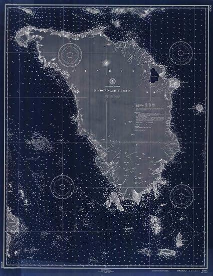 Amazoncom Vintography Blueprint Style 8 X 12 Nautical Map Of - Us-coast-and-geodetic-survey-maps