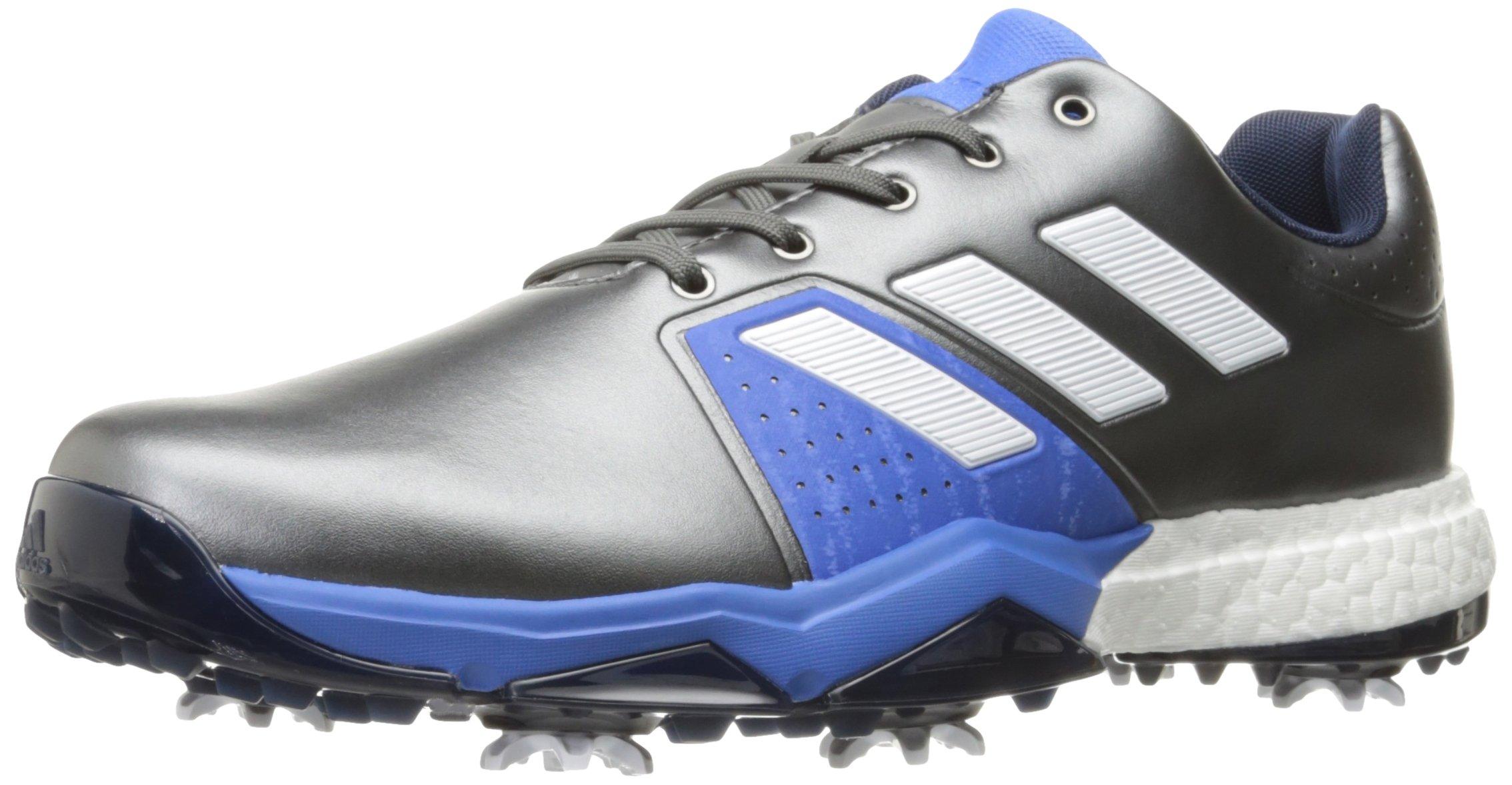 adidas Men's Adipower Boost 3 WD Golf Shoe, Dark Silver Metallic/White/Blast Blue, 7.5 W US