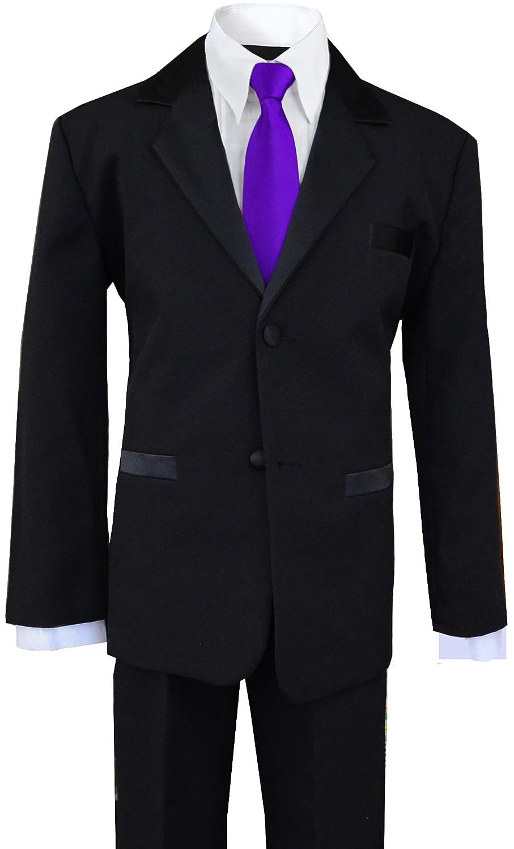 Black n Bianco Boys Tuxedo in Black with a Purple Long Neck Tie
