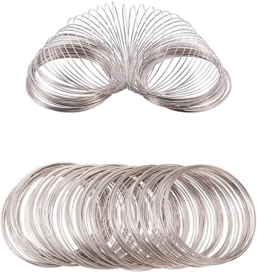 20 Loops Bracelet Memory Wire 60mm Silver Tone Jewellery Making Beading Craft