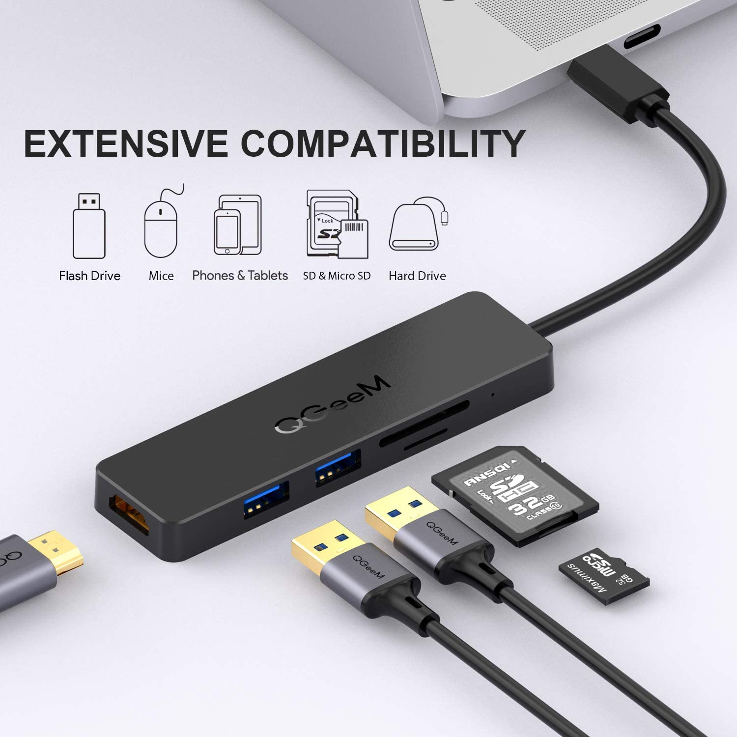 USB C Hub,QGeeM 5 in 1 USB C to HDMI 4K Adapter,USB C to USB 3.0,Type C SD/TF Card Reader,USB to HDMI,Compatible with MacBook Pro 2018 ipad Pro, ChromeBook, Dell XPS, Surface Go