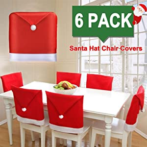 6 PACK Christmas Chair Covers Christmas Decoration Santa Hat Chair Back Covers Xams Chair Covers Caps Slipcovers Set for Christmas Festive Home Dinner Christmas Table Decoration Kitchen Party Decor