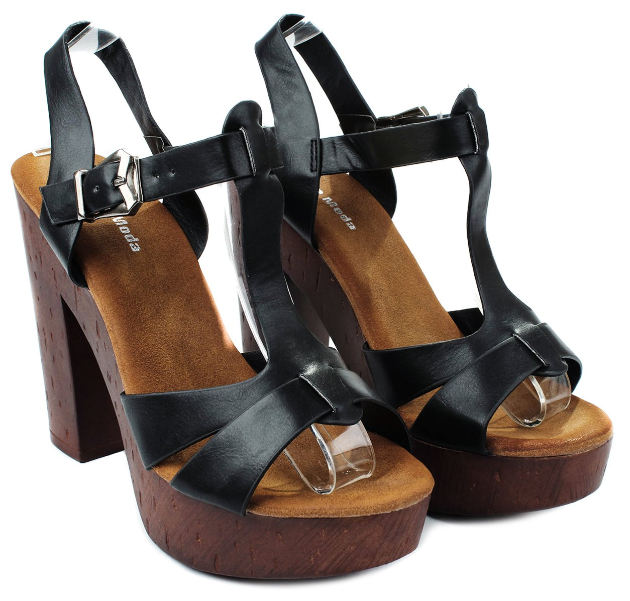 TopModa J-40 T-Strap Leatherette Platform Buckle Chunky High Heel Platform Leatherette Dress Sandals B00X6NEH4S 6 B(M) US|Black 34184c
