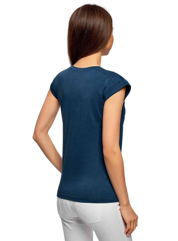 oodji Ultra Mujer Camiseta con Inscripción y Dobladillos en Las Mangas: Amazon.es: Ropa y accesorios