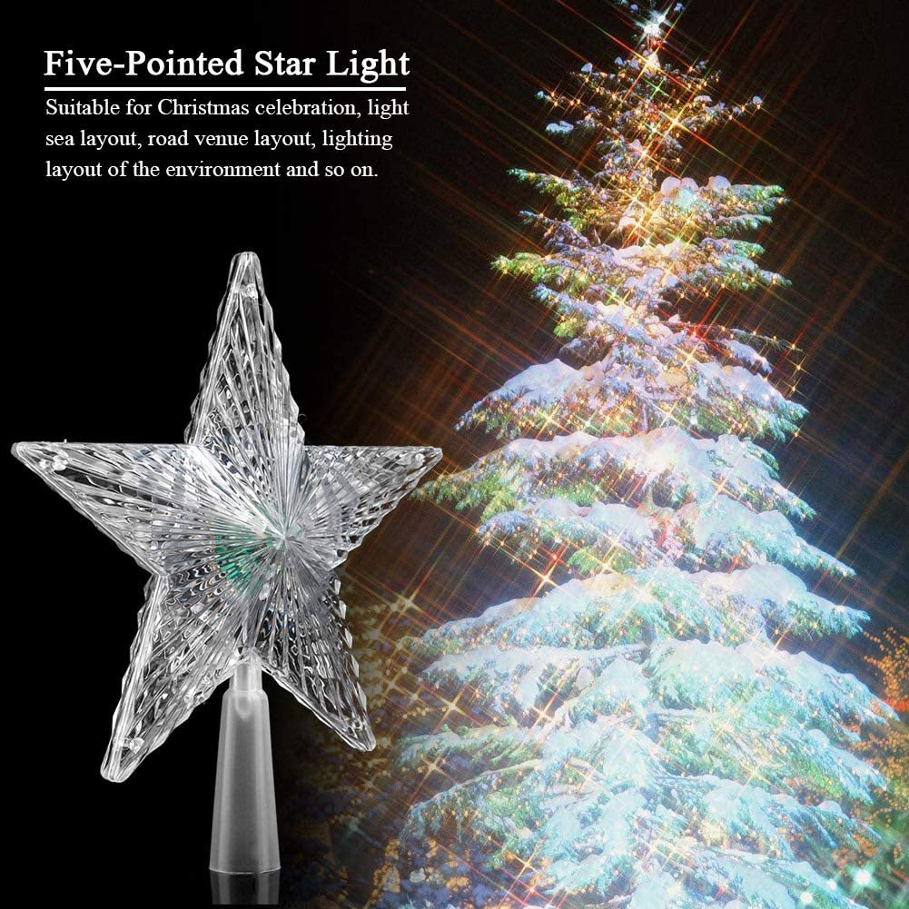 Star LED Lights Flashing Christmas Tree Topper Lamps Party Ornament Home Decor