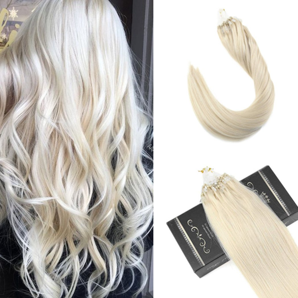 Ugeat 16inch 100Gram Human Hair Extensions Color #60 White Blonde Hair Extensions Human Hair Micro Ring Extensions Straight Hair by Ugea (Image #1)
