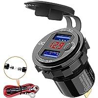 Quick Charge 3.0 USB stopcontact voor de auto, 12 V, met schakelaar, USB-inbouw, 24 V, waterdicht, autolader…