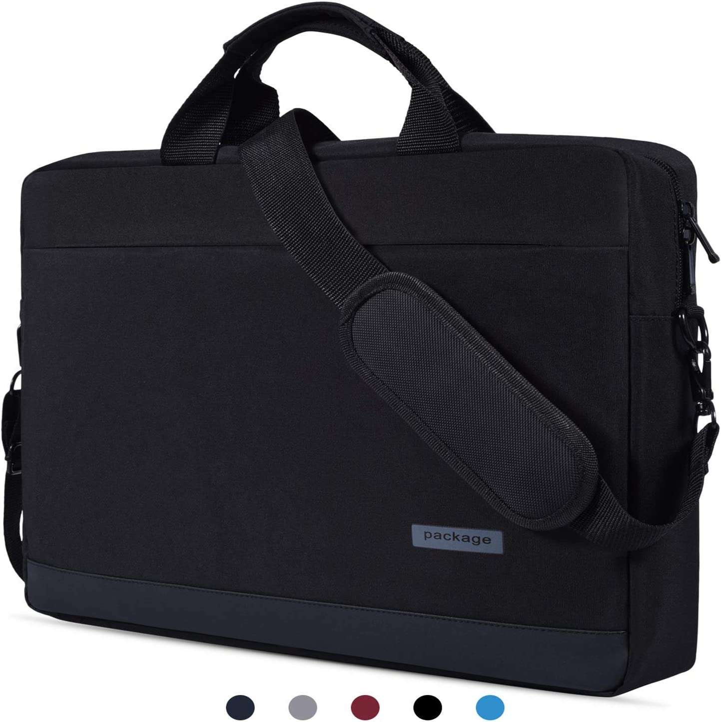 "15.6 inch Laptop Briefcase Messenger Bag Waterproof Laptop Shoulder Bag Compatible with Acer Aspire E 15/Acer Predator Helios 300/Acer Chromebook 15, ASUS Toshiba LG MSI HP 15.6"" Notebook Bag, Black-2"