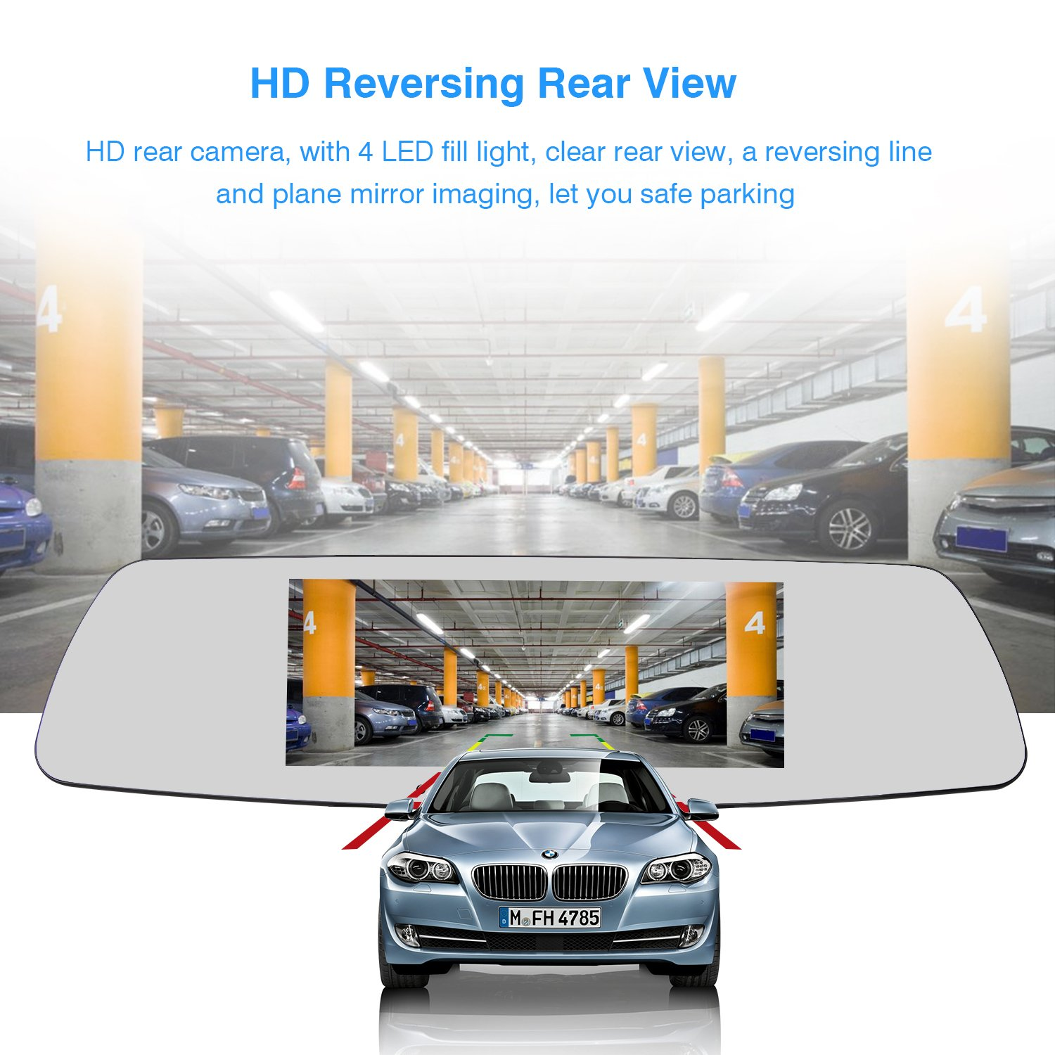 SENDOW Mirror Dual Dash Camera 7 Inch 1080P IPS Touch Screen 170° Wide Angle Rearview Dash Camera Vehicle Recorder, Car DVR with Parking Monitor WDR Loop Recording by SENDOW (Image #3)