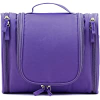 Sumnacon Unisex Waterproof Travel Toiletry Bags Organizer, Washable Bathroom Storage Hanging Cosmetic for Household Business Vacation, Multi Compartments, Portable Hanging Hook (Purple)