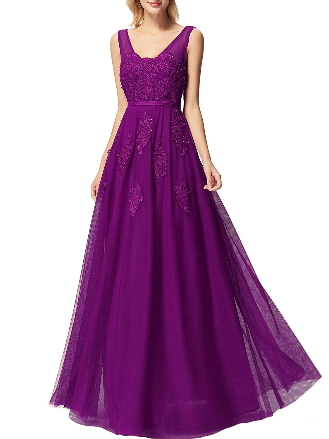 Purple Promworld Women's Lace Applique Prom Dress Tulle Double V Neck Evening Gowns Formal Dresses