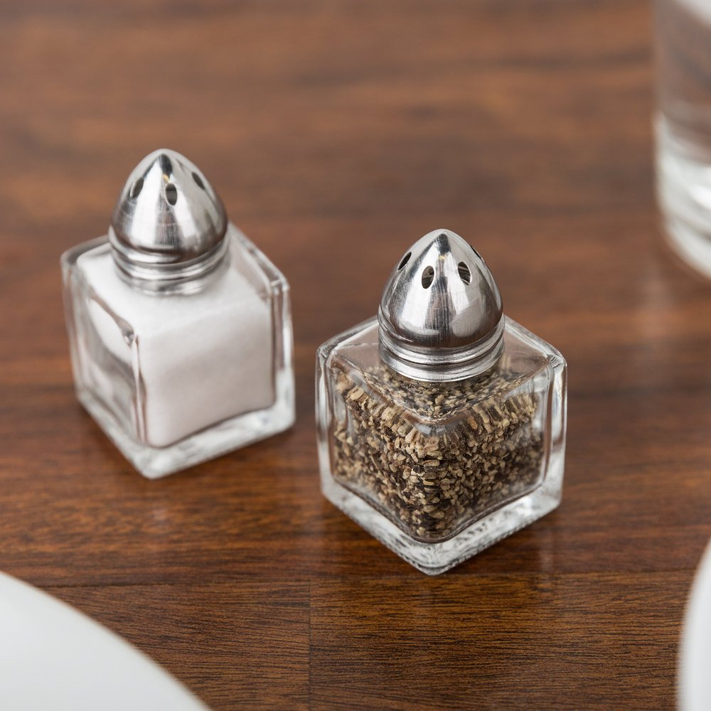 TrueCraftware - Set of 48 - 1/2 oz Mini Salt Shakers - Mini Square Cube Glass Salt and Pepper Shakers with Polished Chrome Top - 0.5 Ounce Individual Shakers for Restaurants or Weddings