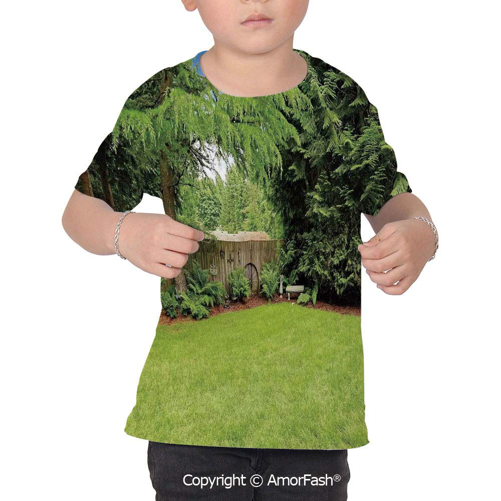 PUTIEN Farm House Decor Childrens Summer Casual T Shirt Dresses Short Sleeve,Backyard