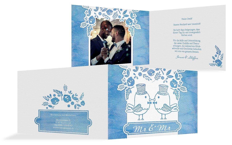 Hochzeit Dankeskarte Vogelpaar- Männer, 30 Karten, MattBlau B07B6RPJ7X | Exquisite (mittlere) Verarbeitung  | Mittlere Kosten  | Zuverlässiger Ruf