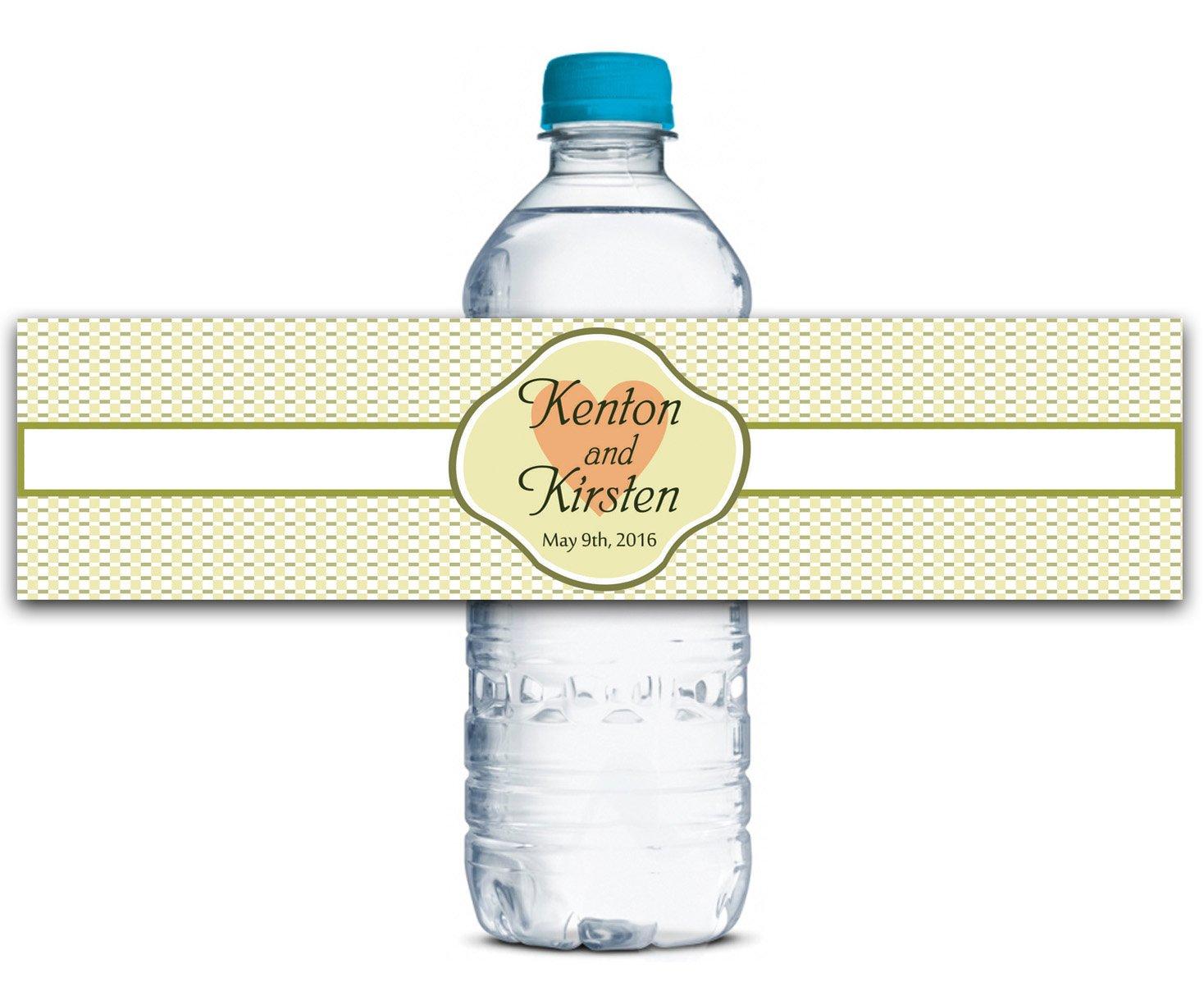 Personalisierte Wasserflasche Etiketten Selbstklebende wasserdichte Kundenspezifische Hochzeits-Aufkleber 8  x 2  Zoll - 50 Etiketten B01A0W1QEG | Billig ideal