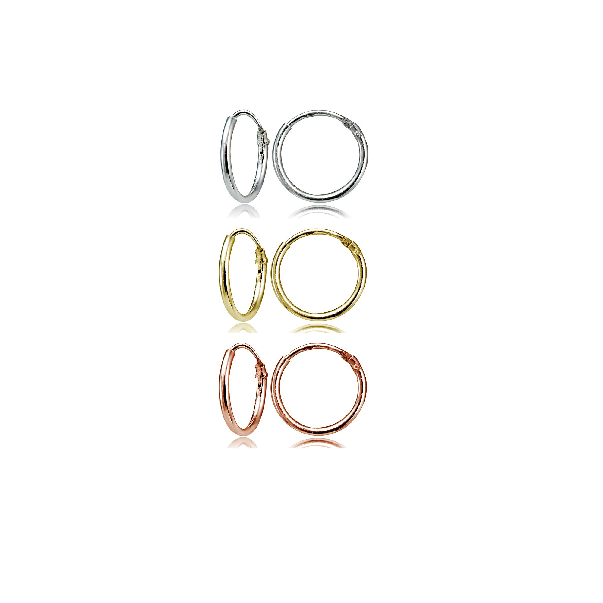 Sterling Silver Tri-Color Small Endless 10mm Round Unisex Hoop Earrings, Set of 3 Pairs