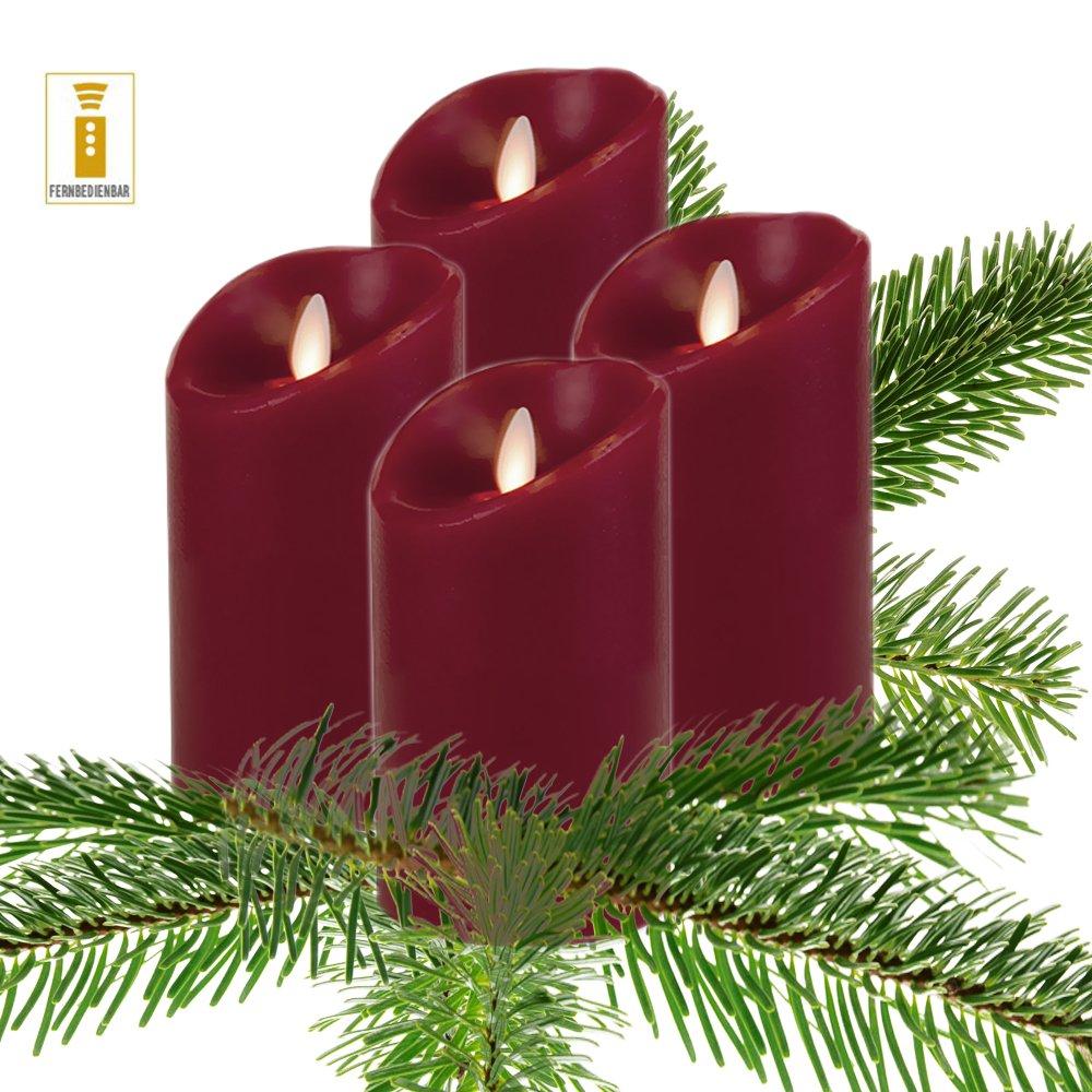 Luminara LED Kerze Echtwachs 8x13 cm Bordeaux fernbedienbar glatt 4er Set Aktion