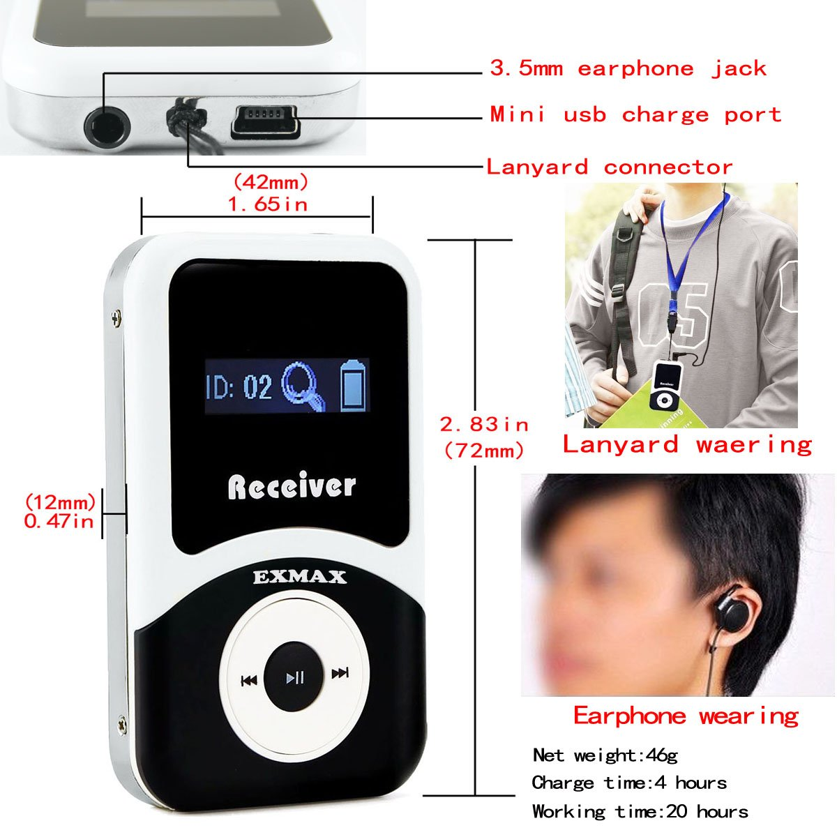 EXMAX ATG-100T 195-230MHz Wireless Tour Guide Monitoring System Microphone Earphone Headset for Church Translate Teaching Conference Travel Square Dance(1 Transmitter 8 Receivers) by EXMAX (Image #3)