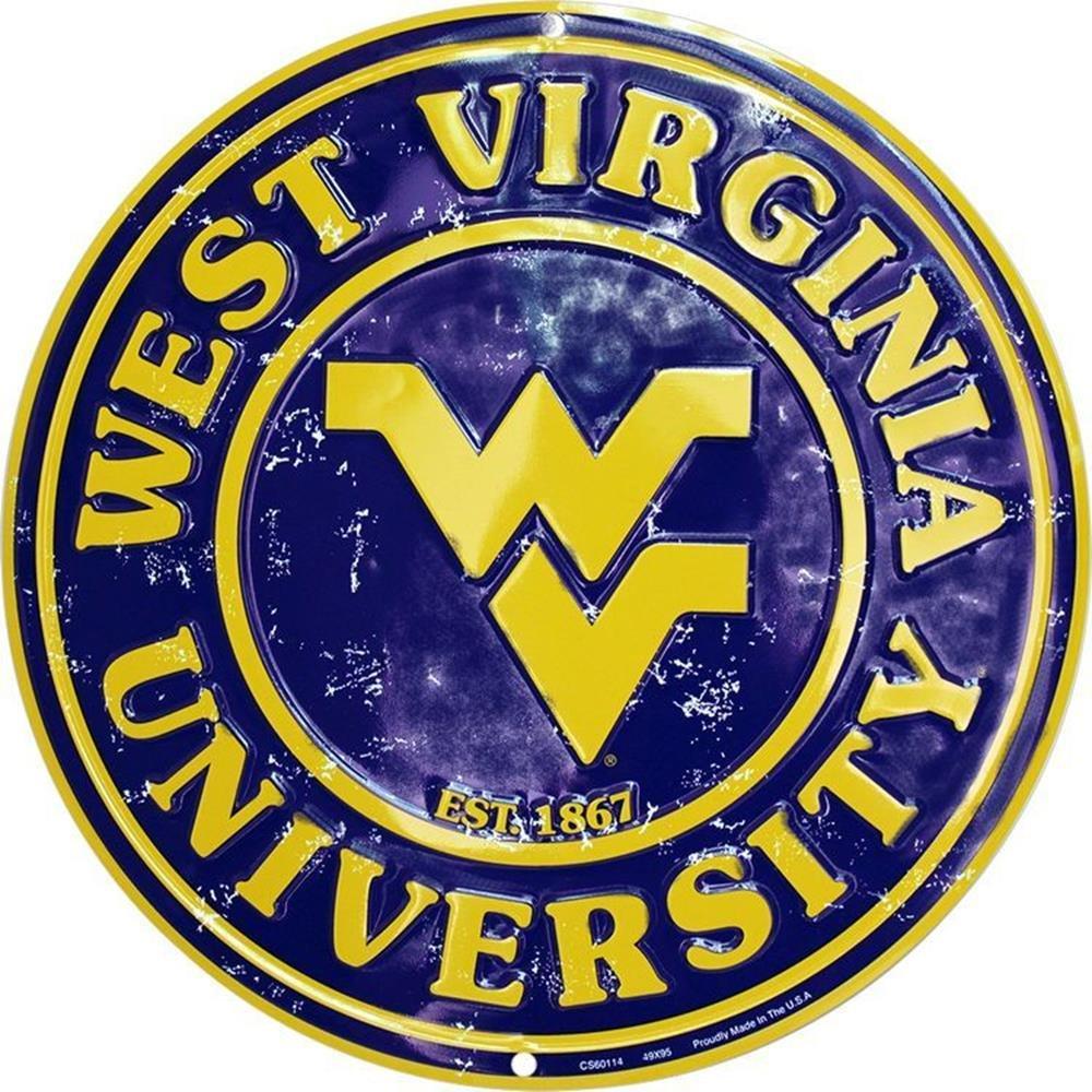 Signs 4 Fun Srcwv WV Univ Mountaineer Retro Round Sign