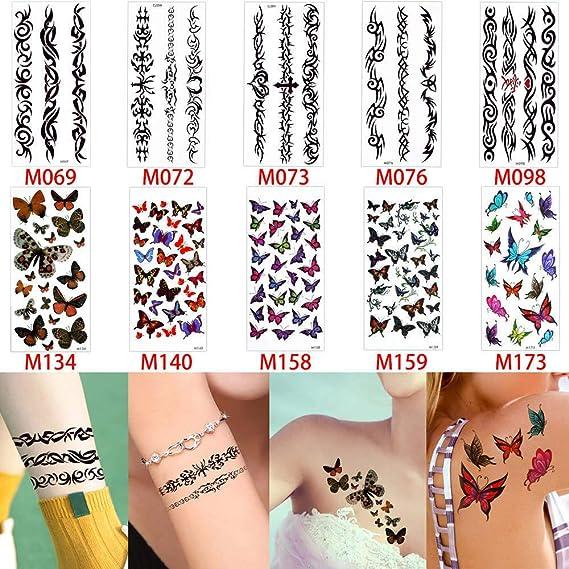 adgkitb Tatuaje Temporal Pegatina Arte Rosa Flor Flor Mariposa ...