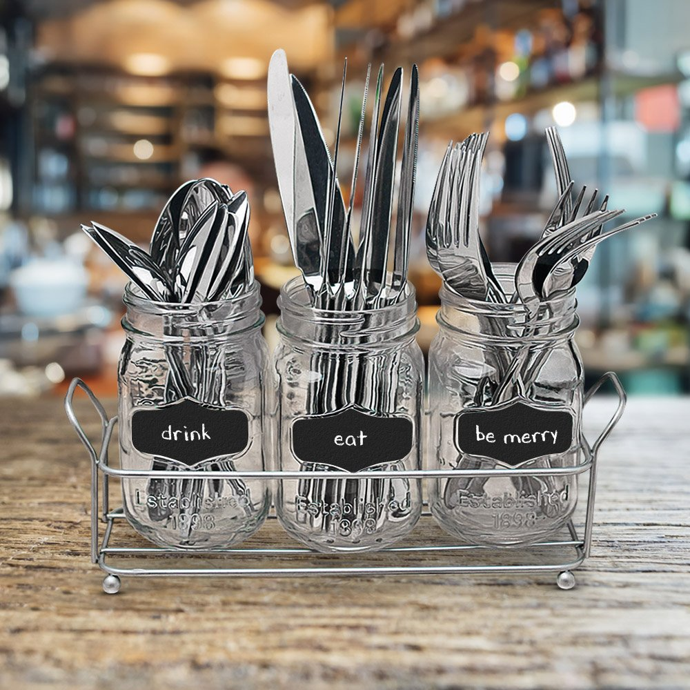 3-pc Mason Jar Flatware Caddies - 17 Oz. Vintage Clear Glass Utensil Organizer with Black Chalk Label on Metal Caddy with Handles - Lightweight Space-Saver Home and Party Drinkware Set by Emenest (Image #5)