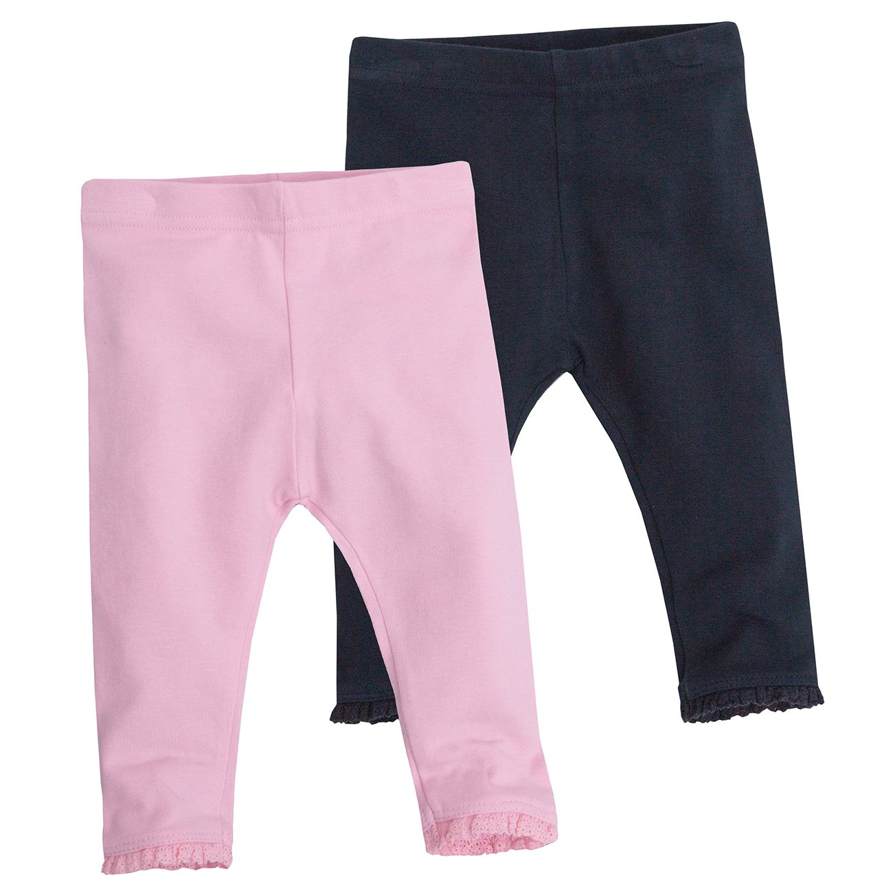 Baby Girls 2-4 Pack Leggings With Pretty Lace Trim. 3-24 Months
