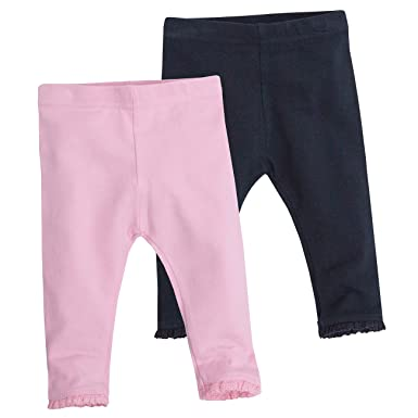 8487cb3f3fce0 BABY TOWN Babies 2 Pack Leggings with Lace Trim Ankle: Amazon.co.uk:  Clothing