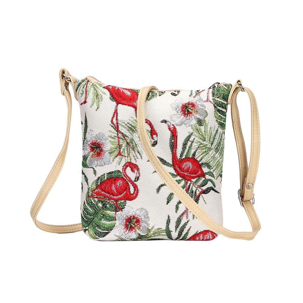 Flamingo Pink and Green Women s Tapestry Lightweight Top Zip Cross body Bag  Sling Bag with Adjustable Strap by Signare (SLING -FLAM)