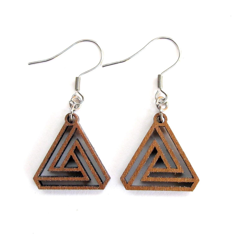 Geometric Wooden Earrings Unique Statement Earrings Hand Cut Earrings Handmade Earrings Hand Painted Earrings Lightweight Earrings