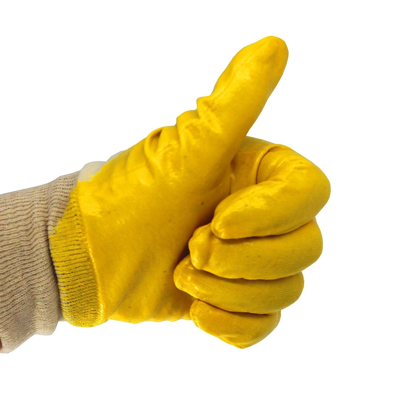 EU-Schutz Nitrilhandschuhe 36 Paar Arbeitshandschuh Bauhandschuh Gartenhandschuhe Gelb teilbeschichtet mit Strickbund 36, 9