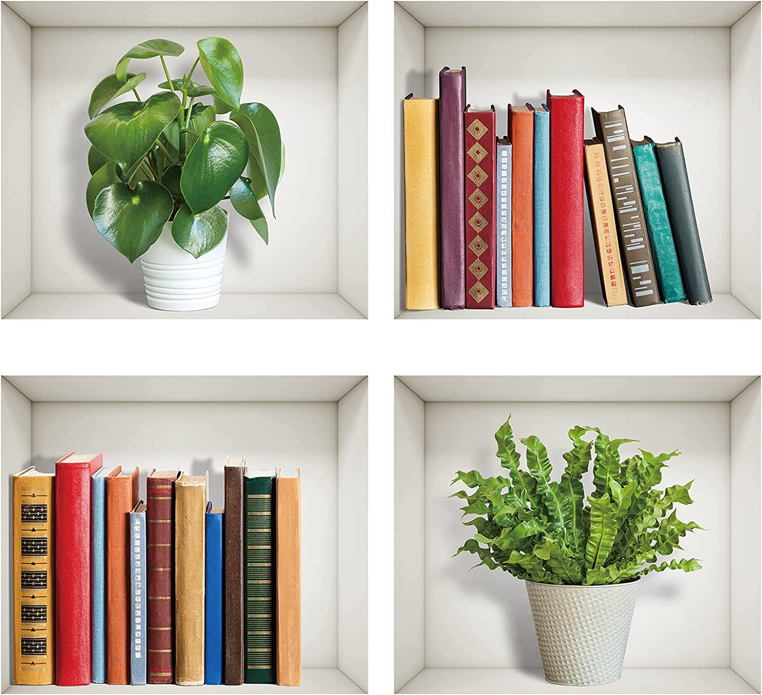 3D Wall Decals Removable Wall Stickers 3D Books Green Plants Mural Wall Stickers Vinyl Wall Art Decor for Office Home Apartment Dorm Living Room Bedroom Wall Decoration (Set of 4, 12.5 x 11.2 Inch)