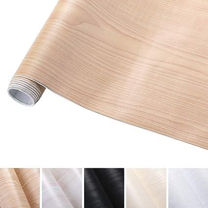 Kinlo 5 0 61m Papier Peint Auto Adhésif à Bois Jaune Chaud En Pvc