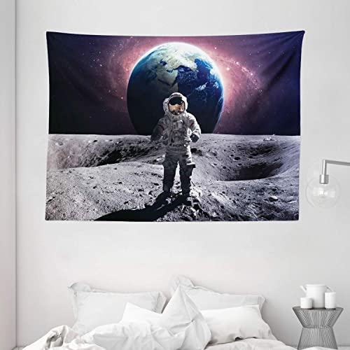 Ambesonne Space Tapestry, Brave Astronaut at The Spacewalk on The Moon Surface with Earth Cosmos Art Image, Wide Wall Hanging for Bedroom Living Room Dorm, 80 X 60 , Magenta Grey