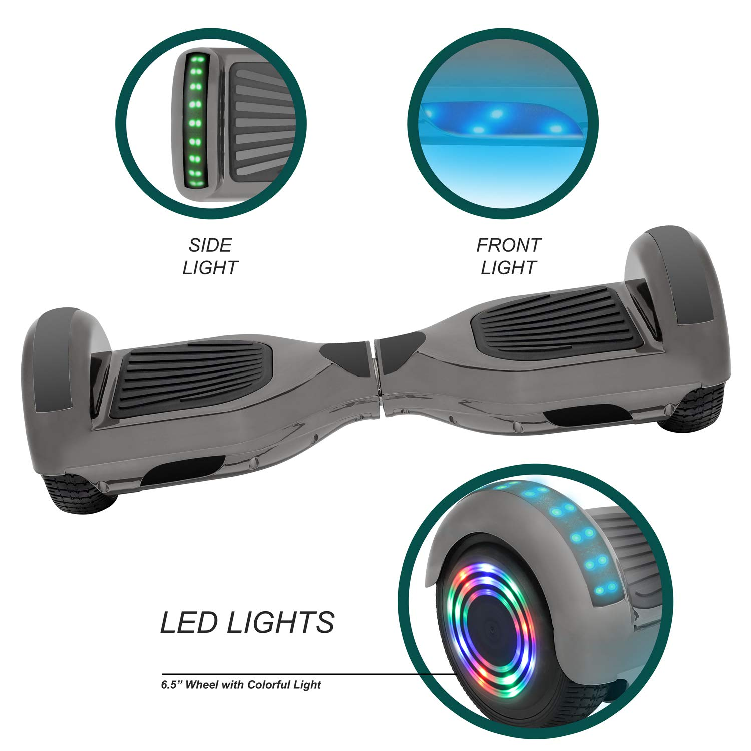 NHT 6.5'' Hoverboard Electric Self Balancing Scooter Sidelights - UL2272 Certified Black, Blue, Pink, Red, White (Chrome Black) by NHT (Image #2)