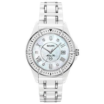 44f87838837 Amazon.com  Bulova Women s Marine Star Quartz Watch with Ceramic ...